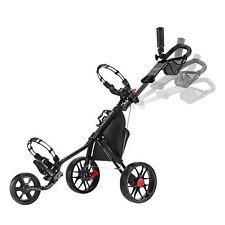 Caddytek Superlite V3 Deluxe 3 Wheel Golf Buggy / Push Cart - Black
