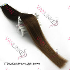 20PCS PU Seamless Skin Tape in Remy Real Human Ombre Hair Extensions #T2/12