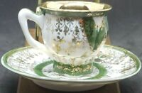 BONE CHINA YORK CHILDS TOY CUP GOLD GUILDED & GREEN TEA CUP & SAUCER