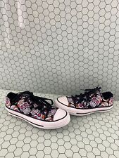 Converse All Star Multicolor Floral Skull Canvas Low Top Shoes Mens 4  Women's 6