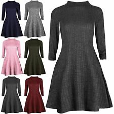 Womens Turtle Neck Grid Knitted Top Ladies Flared Stretchy Swing Long Mini Dress