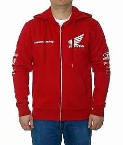 Men's Honda Racing Hoodie Red Zip Honda Racing Sweatshirt Logos HON9S3RAC3RED