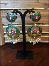 Meenakari Kundan Pearl Earrrings / Bollywood Jewelry-3