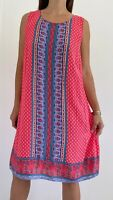 CROSSROADS Red Blue Floral Paisley Print Sleeveless Shift Dress Plus Size AU 22