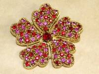 Vintage Gold Tone Filigree Red & Pink Glass Rhinestone LG Flower Pin Brooch 2.5""