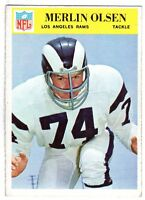 1966 Philadelphia Football card #102 Merlin Olsen, Los Angeles Rams ~ EX