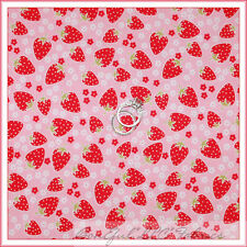 BonEful Fabric FQ Cotton Quilt VTG Pink White Strawberry Red Daisy Flower Calico