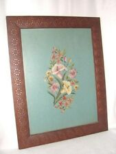 Antique Carved Wood Framed Needlepoint Picture ~ All Needlepoint Plus Flowers