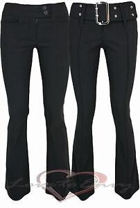 GOOD QUALITY BLACK BOOTCUT STRETCH SCHOOL WORK TROUSERS uk6-16 in 3 LEG LENGTHS.