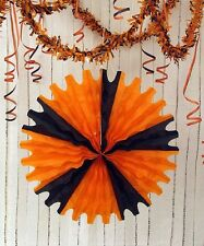 "*Large 25""Halloween TISSUE FAN Orange and Black *Great for Vintage Retro Decor*"