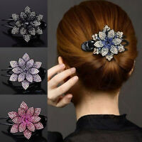 Women Rhinestone Flower Hair Claw Clips Accessory Hairpin Ponytail Headwear 07UK
