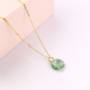 For Girls Wear Green Amethyst Quartz Yellow Gold Plated Pendant Chain Necklace