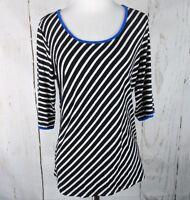Women's KENAR Diagonal Striped Knit Shirt M Keyhole Black White Blue Medium Top