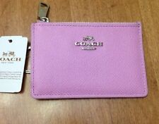 NEW Coach Medium Wallet Card Case Skinny Key Ring Change ID 52394 Leather Pink