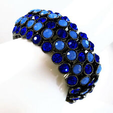 USA Bracelet blue rhinestone CRYSTAL stretch elastic wide navy wristband bridal