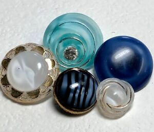 5 Glass Moonglow Buttons, Aqua Paste, Cobalt Im Sew Through, Black Stripe, BM