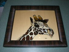 """Reverse Painting Giraffe Picture On Glass Professionally Framed 14"""" T x 17"""" W"""