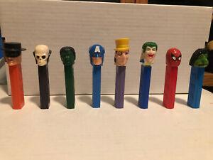 PEZ No Feet Spiderman Captain America Hulk Penguin Joker Zorro Skull Ugly Lot 8
