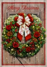 Christmas For Her Wreath With Red And White Bow For Him Holiday Greeting Cards