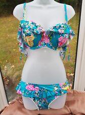 Floozie por Frost francés Azul Floral Bikini 36DD y pantalones talla 14 nuevo PVP £ 48
