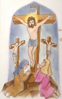 VIZBAR 1933-2019  NEW YORK CITY ORIGINAL ILLUSTRATION DRAWING CRUCIFIXION JESUS