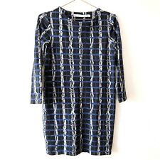 &Other Stories Black Blue Short Dress 38 10 12 Work Arty Check Blogger Trendy