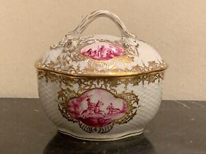 "Antique Dresden Porcelain Hand Painted Lidded Box 4.5"" High"