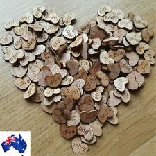 100pcs Rustic Wooden Wood Love Heart Beads for Wedding Table Scatter Decoration