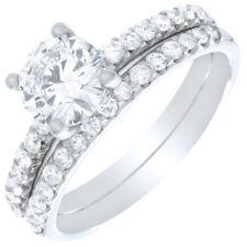 Petite Prong Setting Round Cut 2.25 CT Diamond Bridal Ring Set 18k Gold GIA C