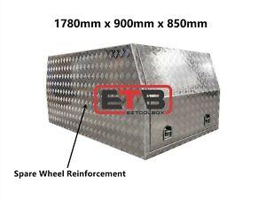 900 x 1780 x 850 mm Aluminium Canopy Toolbox Dual Cab Ute Full Open Tool Box