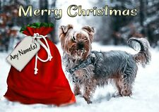 Personalised Yorkie Yorkshire Terrier Christmas Card + illus insert  A5 size