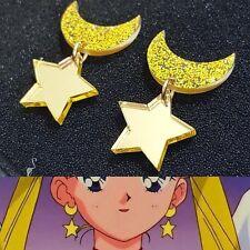 Sailor Moon Chibi Usa Moon Star Ear Studs Earrings Yellow Cosplay Accessories