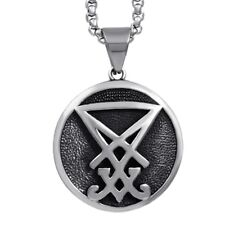 SIGIL OF LUCIFER PENDANT Seal of Satan, Satanic Surgical Steel Goth +CHAIN & BOX