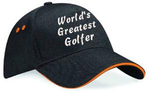Embroidered World's Greatest......Black/Orange Ultimate Baseball Cap, Ideal Gift