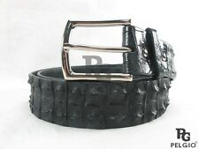 "Genuine Crocodile Alligator Double Hornback Skin Leather Men Belt 46"" Long Black"