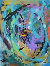 Acrylic Painting on Dura-lar 9x12 Abstract Art Teal Yellow Original Grunge