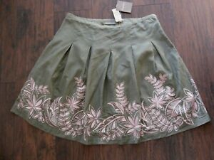 NWT TOMMY BAHAMA ~ EMBROIDERED SILK BLEND SKIRT ~ 14 ~ EMBROIDERED LILLY FLOWERS