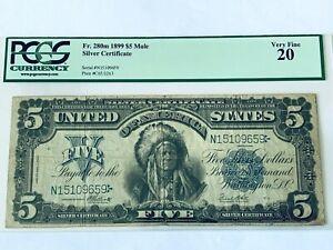1899 $5 SILVER CERTIFICATE NOTE - PCGS 20 - Very Fine - Fr. 280m MULE