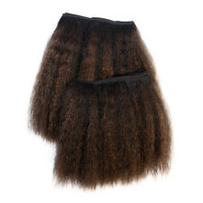 """Kinky Straight Afro Hair Extensions 10""""/12"""" Inch #1B Off Black Golden Brown Mix"""