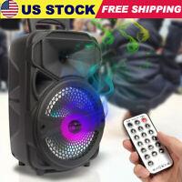 "Portable Party Speaker 8"" USB Bluetooth FM Control Loud Bass Sound Rechargeable"