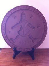 "Gear USA Brown Stoneware Hartstone Shortbread Santa Hearts Apples Mold 9"""