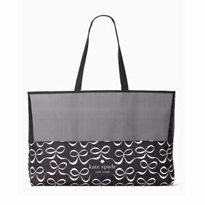 Kate Spade New York Bow Shopper Extra Large Foldable Shopping Tote Black NWT