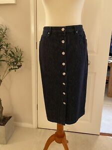 M&S Denim Skirt Indigo Striped 14