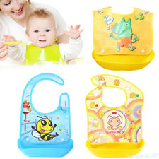 Silicone Baby Feeding Bibs With Food Catcher Pocket Unisex Waterproof Bib as07