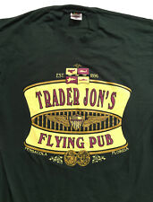 Trader Jon's Flying Pub Pensacola FL Green Vintage T Shirt Sz. L