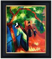 Framed, August Macke Sunny Path Repro, Quality Hand Painted Oil Painting 20x24in