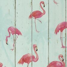 Pink Flamingos Wallpaper on Sky Blue Wood Panel Bathroom Contour Vinyl 479706