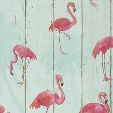 Pink Flamingos Wallpaper on Sky Blue Wood Panel Bathroom Contour Vinyl 479706