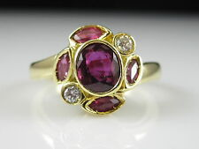 18K Ruby Diamond Ring Yellow Gold Estate Bezel Set Marquise Red Fine Jewelry