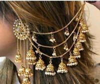 Ethnic Gold Plated Indian Bollywood bahubali Chain Jhumka Earring Traditional